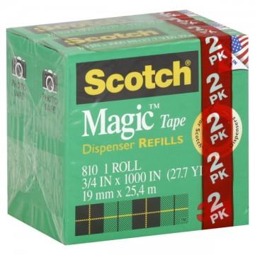 3M Scotch Magic Tape Dispenser Refill .75 X 1000 Inch ea - 2 pk