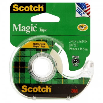3M Scotch Magic Tape Matte Finish with Dispenser .75 X 650 Inch