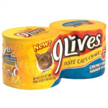 9 Lives Wet Cat Food Chunky Chicken Dinner in Gravy - 4 pk