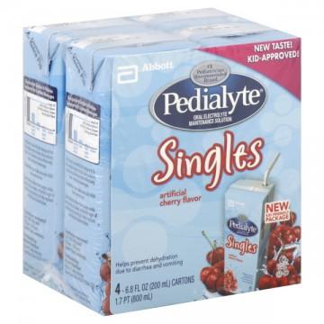 Pedialyte Singles Cherry Oral Electrolyte Maintenance Solution - 4 pk