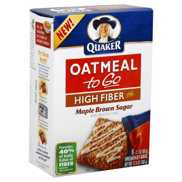 Quaker Oatmeal To Go Cereal Bars Maple Brown Sugar High Fiber - 6 ct