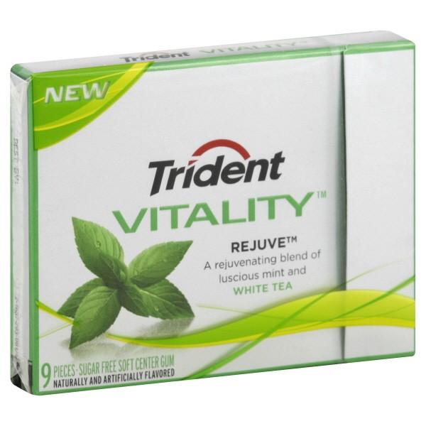 Trident Vitality Sugar Free Gum, Rejuve