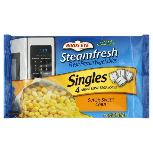 corn singles Corn already comes single serve in a microwavable coating typically reffered to as a husk if you cut the bottom end and microwave for approximately three minutes, the husk and silk slide free with ease.