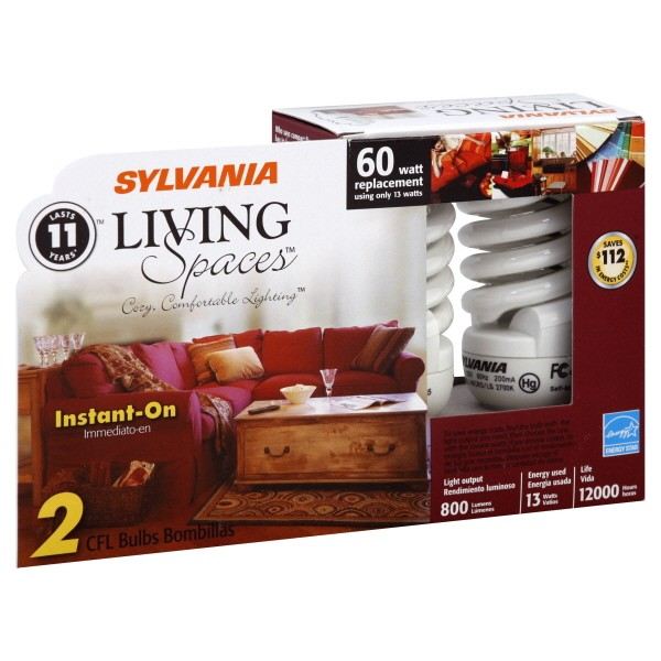 Sylvania Living Spaces Light Bulbs Cfl Instant On 13 Watt