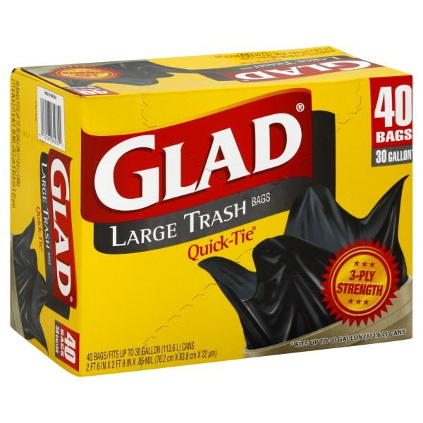 Glad Quick Tie Outdoor Trash Bags 30 Gallon
