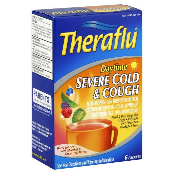Theraflu Severe Cold Cough Daytime Berry Infused Wmenthol Green Tea