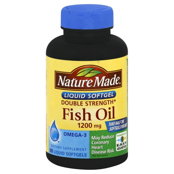 Nature made fish oil double strength 1200 mg premium softgels for Daily recommended fish oil