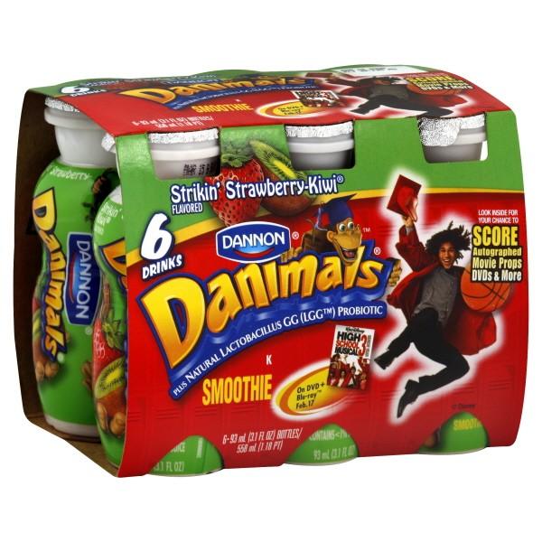 Dannon danimals yogurt smoothie strikin strawberry kiwi 6 ct