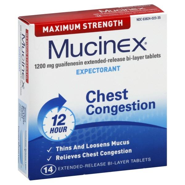 Mucinex Chest Congestion Expectorant Maximum Strength 12 Hour Tablets
