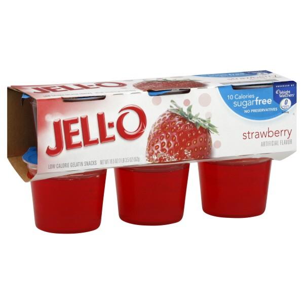 Jell-O Gelatin Cups Sugar Free Strawberry - 6 ct