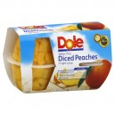 Dole Fruit Bowls Peaches Yellow Cling Diced in 100% Juice - 4 ct