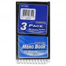 Top Flight Memo Book Top Wire 3 X 5 Inch - 3 pk