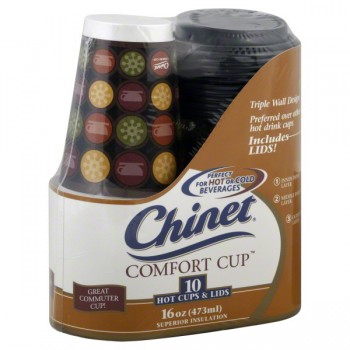 Chinet Comfort Cups Hot or Cold Superior Insulation with Lids 16 oz