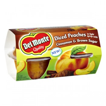Del Monte Fruit Bowls Peaches Diced Light Syrup Brown Sugar & Cinnamon 4ct