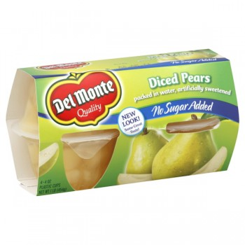 Del Monte Fruit Bowls Pears Diced No Sugar Added - 4 ct