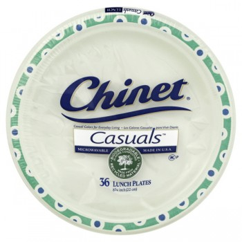 Chinet Casuals Plates Lunch Paper 8.75 Inch