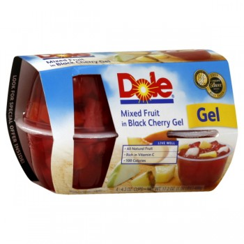 Dole Fruit Gel Bowls Mixed Fruit in Black Cherry Gel - 4 ct