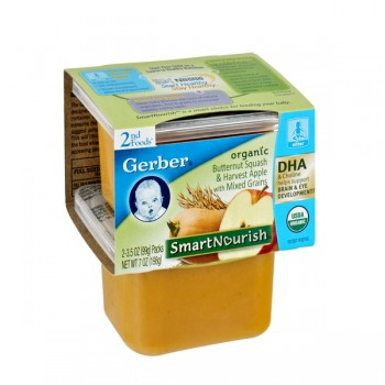 Gerber 2nd Foods SmartNourish DHA Butternut Squash & Apple Organic -2 pk