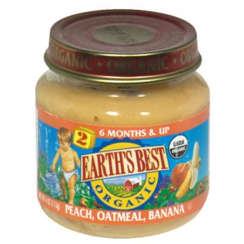 Earth's Best Stage 2 Fruit & Whole Grain Peach Oatmeal Banana Organic