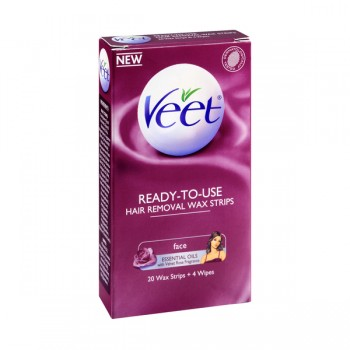 Veet Hair Remover Face Essential Oils/Velvet Rose Ready to Use Wax Strips