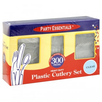Party Essentials Cutlery Forks, Spoons & Knives Heavy Duty Plastic Clear