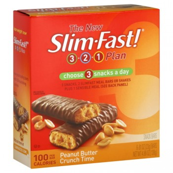 Slim Fast 3-2-1 Plan Snack Bars Peanut Butter Crunch 100 Calorie - 6 ct