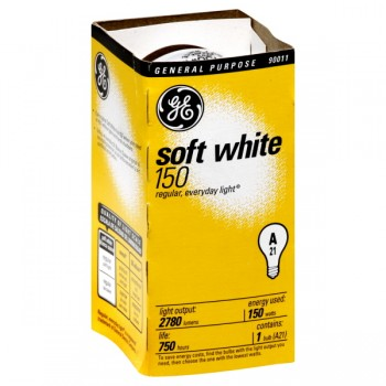 G.E. Soft White Longlife Light Bulb Medium Base 150 Watt