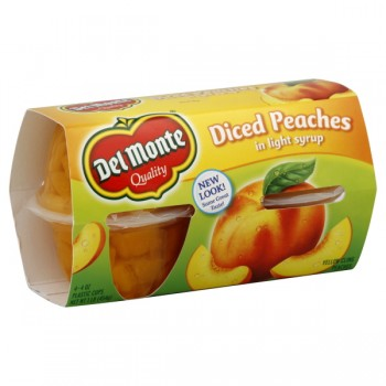 Del Monte Fruit Bowls Peaches Yellow Cling Diced in Light Syrup - 4 ct