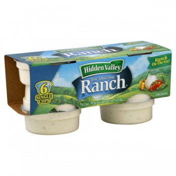 Hidden Valley Salad Dressing Ranch On-The-Go Single Cups - 6 ct