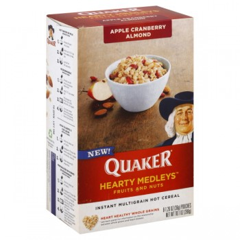 Quaker Instant Hot Cereal Hearty Medleys Apple Cranberry Almond - 8 ct