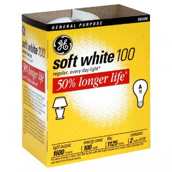 G.E. Soft White Longlife Light Bulb Medium Base 100 Watt