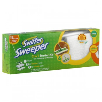 Swiffer Starter Kit 1 Sweeper, 2 Dry Sweeping Cloths & 1 Wet Mopping Cloth