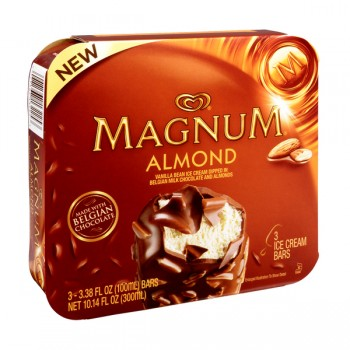 Magnum Ice Cream Bars Almond Vanilla w/Belgian Milk Chocolate Coating 3 ct