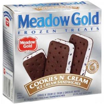 Meadow Gold Cookies N' Cream Ice Cream Sandwich Bars - 6 ct.
