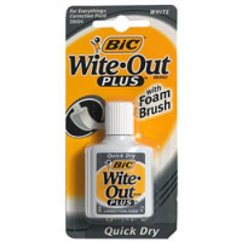 BIC Wite-Out Plus Correction Fluid Quick Dry with Foam Brush