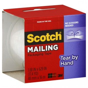 3M Scotch Packaging Tape Tear-By-Hand 1.88 X 629 Inch