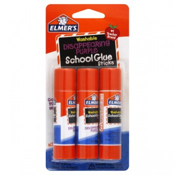 Elmer's School Glue Sticks Disappearing Purple Glue Washable