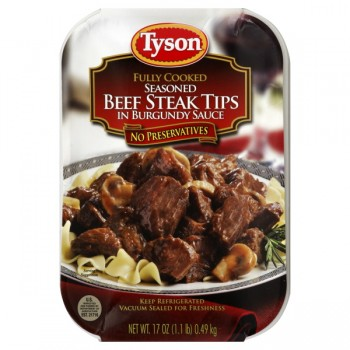 Tyson Beef Steak Tips in Burgundy Sauce Fully Cooked