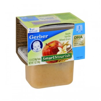 Gerber 2nd Foods SmartNourish DHA Apple Vanilla Mixed Grain - 2 pk
