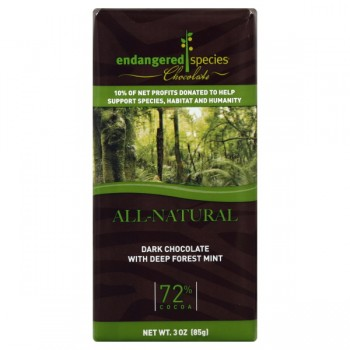 Endangered Species Chocolate Dark Deep Forest Mint 72% Cocoa All Natural