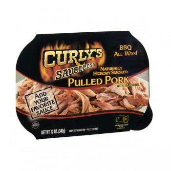Curly's Sauceless Pork Pulled with Seasoning Naturally Hickory Smoked
