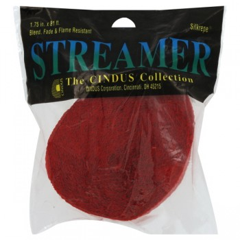 The Cindus Collection Streamer Crepe Flame Red 81 Feet