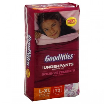 GoodNites Underpants for Nighttime Girls L/XL - 60-125 lbs