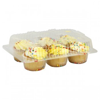 Bakery Cupcakes Gold with White Icing with Sprinkles - 6 ct