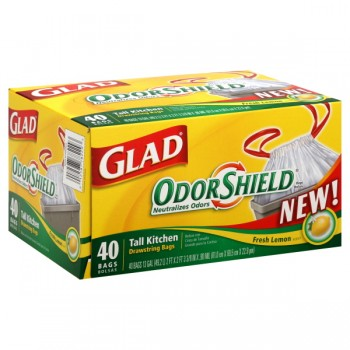 Glad Drawstring Kitchen Bags Tall Odor Shield Lemon Scent 13 Gallon