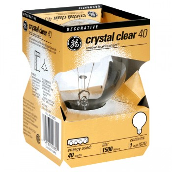 G.E. Globe Light Bulb Clear Medium Base 40 Watt