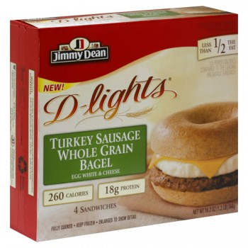 Jimmy Dean D-lights Bagel Sandwich Turkey Sausage - 4 ct