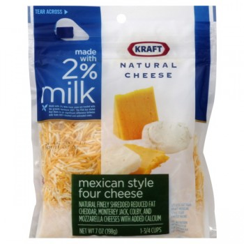 Kraft Cheese Mexican Four Cheese 2% Milk Reduced Fat Finely Shredded