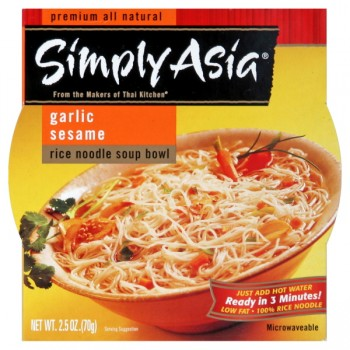 Simply Asia Rice Noodle Soup Bowl Garlic Sesame