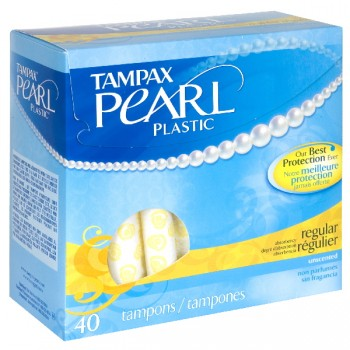 Tampax Pearl Tampons Regular Absorbency with Plastic Applicator Unscented